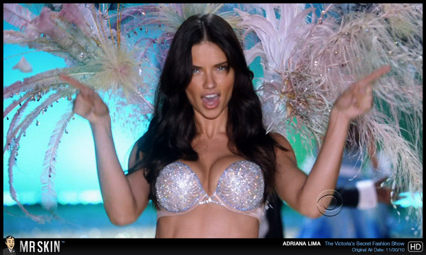 Sexy Adriana Lima bra and feathers; Celebrity Hot