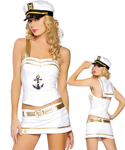 Sexy Wear Women Sexy Stewardess Navy Sailor Uniform Bikini Costume 8283(Top + Miniskirt + Cap); Toys Party
