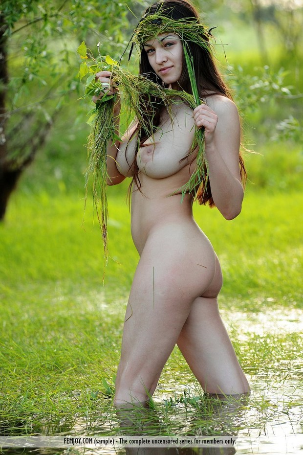 Free spirited brunette with big tits plays outdoors; Big Tits Brunette