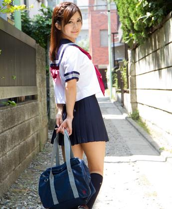 Cute asian teen in schoolgirl uniform; Asian Teen Uniform