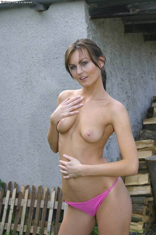 Tiny brunette Adela shows her small tits; Brunette