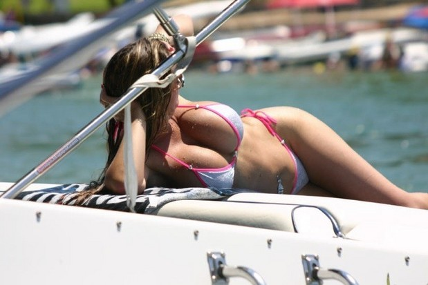 No way does she need a life vest with those 2 pontoons on her chest. Yeah… you just keep looking over there while we keep creeping.; Hot